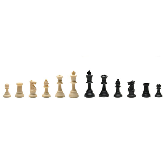 WE Games Classic Tournament Staunton Chessmen - Heavy Weighted Black & Cream Plastic Set with 3.75 Inch King - American Chess Equipment