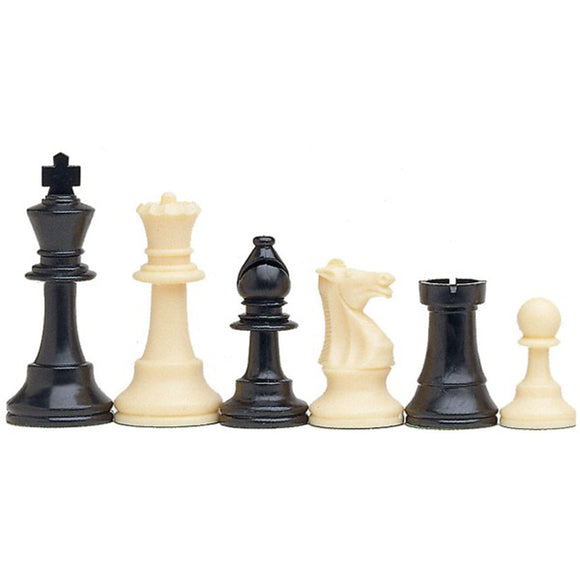 Best Value Staunton tournament chess pieces - black and cream plastic chessmen with 3.75 inch king - American Chess Equipment
