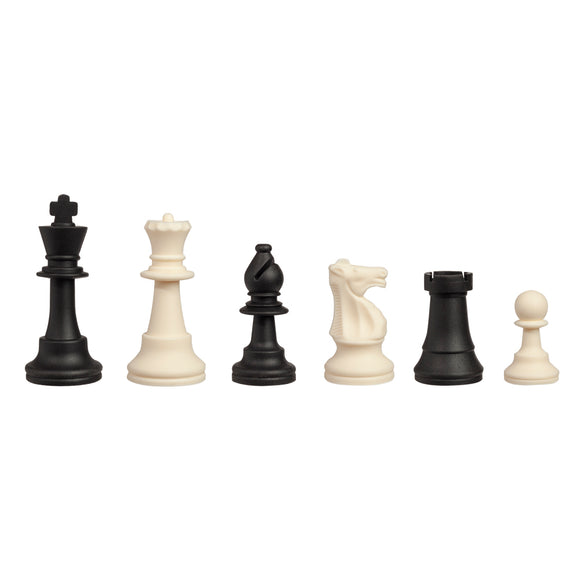 WE Games Silicone Staunton Tournament Chess Pieces - Black and Cream, 3.75 inch King - American Chess Equipment