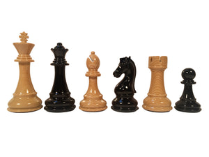The Bobby Fischer Series Faux Wood Chess Pieces - 4.25 inch king Heavily Weighted - American Chess Equipment