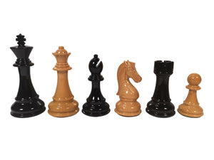 The Bobby Fischer® Series Faux Wood Chess Pieces - 4.25 inch king Heavily Weighted - American Chess Equipment