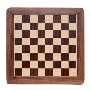Classic Chess Board – Walnut Wood with Rounded Corners - Comes in 16, 19 and 21 inches - American Chess Equipment
