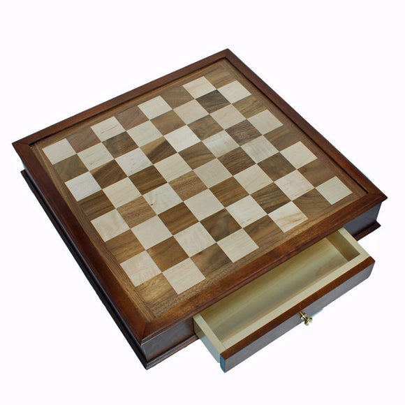 Maple & Walnut Wood Chessboard with Storage (Made in USA) - American Chess Equipment