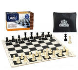 We Games Compact Tournament Chess Set in Assorted Colors with Silicone Chess Board & Plastic Tournament Pieces with 3.75 in. King, 20 Inch Board - American Chess Equipment