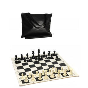 Tournament Chess Pack – Staunton Pieces with Vinyl Board and Tote - American Chess Equipment