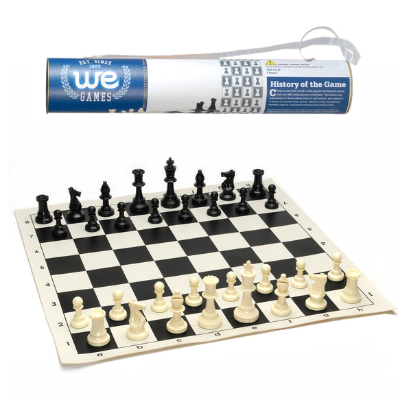 WE Games Roll-up Travel Chess Set in Carry Tube with Shoulder Strap - American Chess Equipment