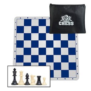 WE Games Ultimate Compact Tournament Chess Set in Assorted Colors with Silicone Chess Board & Triple Weighted Pieces - American Chess Equipment