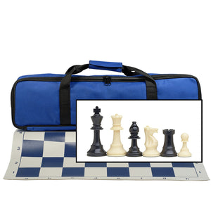 WE Games Complete Tournament Chess Set – Plastic Chess Pieces with Green Roll-up Chess Board and Travel Canvas Bag - American Chess Equipment
