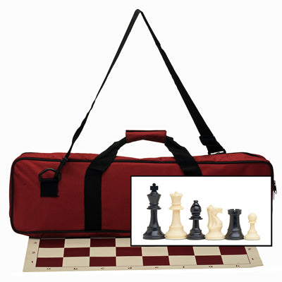 Tournament Chess Set with Deluxe Canvas Bag and Vinyl Board in Assorted Colors – 3.75 Inch King – Double Weighted - American Chess Equipment