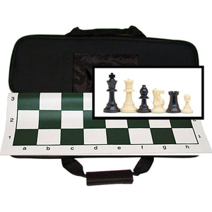 "WE Games Tournament Chess Set with Canvas Bag - 3 3/4"" King - Double Weighted Chessmen - American Chess Equipment"