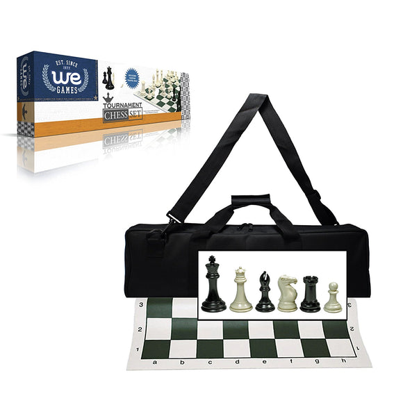 WE Games Ultimate Tournament Chess Set in Assorted Colors with Vinyl Chess Mat, Canvas Bag & Super Triple Weighted Chessmen with 4