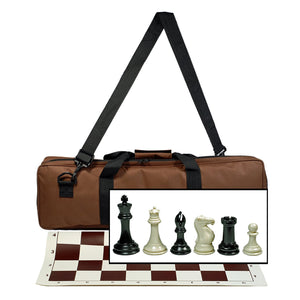 "WE Games Ultimate Tournament Chess Set in Assorted Colors with Vinyl Chess Mat, Canvas Bag & Super Triple Weighted Chessmen with 4"" King - American Chess Equipment"