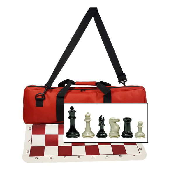 WE Games Ultimate Tournament Chess Set with Silicone Chess Mat, Canvas Bag in Assorted Colors & Super Triple Weighted Chessmen with 4″ King - American Chess Equipment