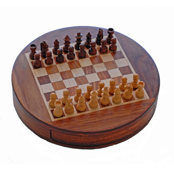Small Wood Magnetic Round Chess Set - Comes in two sizes - American Chess Equipment