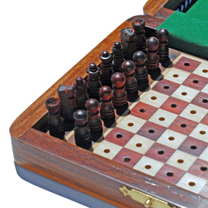 Travel Wood Pegged Chess Set - American Chess Equipment