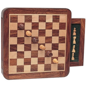 Wood Magnetic Chess Set with Push-Out Drawer - American Chess Equipment