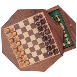 Wood Magnetic Chess Set - Octagon Board with Push Out Drawer - American Chess Equipment