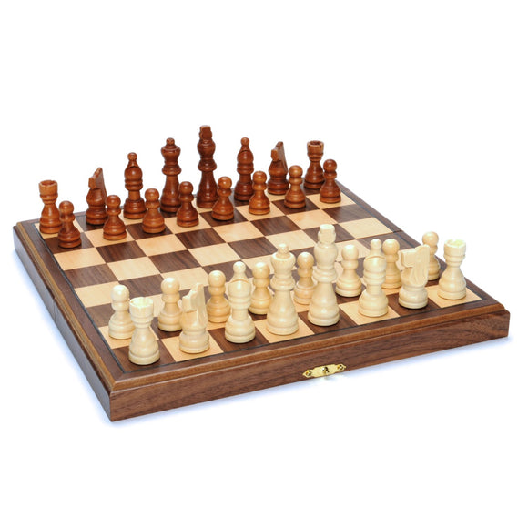Wood Folding Chess Set with Beveled Edges – 11.5 inch Walnut Board - American Chess Equipment