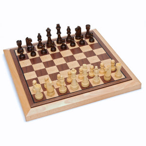 Staunton Chess Set – Weighted Pieces & Black Stained Wooden Board 15 in. - American Chess Equipment
