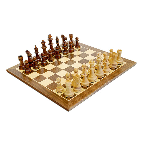 Traditional Staunton Wood Chess Set with a Wooden Board – 14.75 inch Board with 3.75 inch King - American Chess Equipment