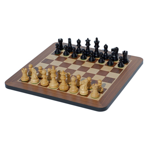 Staunton Chess Set – Weighted Pieces & Black Stained Wooden Board 17 in. - American Chess Equipment