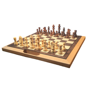 Classic Folding Chess Set with Handle – Wood Board 16 in. - American Chess Equipment