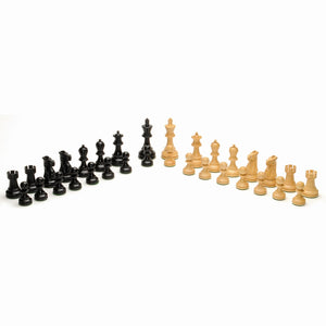 Grand English Style Chess Set with Storage Drawers – Pieces are Tournament Sized and Hand Carved with Black Stained Wood Board 19 in. - American Chess Equipment