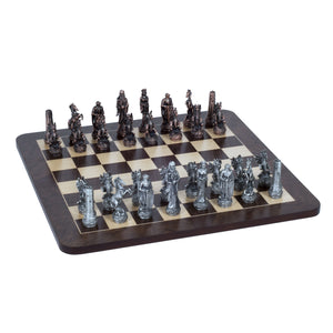 Fantasy Chess Set – Pewter Pieces & Walnut Root Board 16 in. - American Chess Equipment