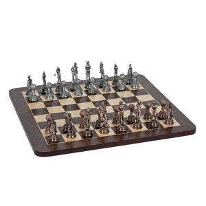 Golf Chess Set – Pewter Pieces & Walnut Root Board 16 in. - American Chess Equipment