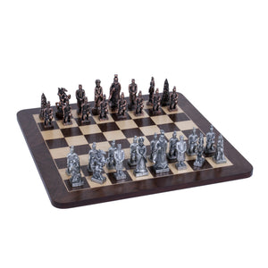 Chinese Qin Chess Set – Pewter Pieces & Walnut Root Board 16 in. - American Chess Equipment