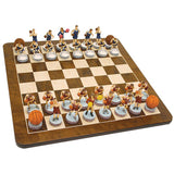 Basketball Chess Set – Handpainted Pieces & Walnut Root Board 19 in. - American Chess Equipment