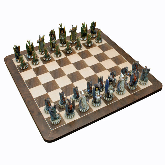 Dragon Chess Set – Handpainted Pieces & Walnut Root Board 21 in. - American Chess Equipment