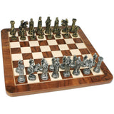 Medieval Chess Set – Pewter Pieces & Walnut Root Board 17 in. - American Chess Equipment