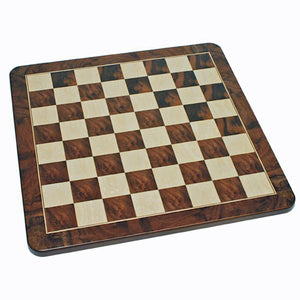 Medieval Chess Set – Pewter Pieces & Walnut Root Board 16 in. - American Chess Equipment