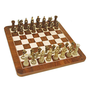 Medieval Chess Set – Handpainted Pieces & Walnut Root Board 17 in. - American Chess Equipment