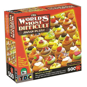 The World's Most Difficult Jigsaw Puzzle – Killer Cupcakes, Double Sided – 500 pieces - American Chess Equipment