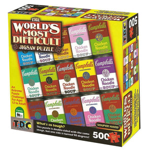 The World's Most Difficult Jigsaw Puzzle – Campbell's Souper Hard, Double Sided – 500 pieces - American Chess Equipment