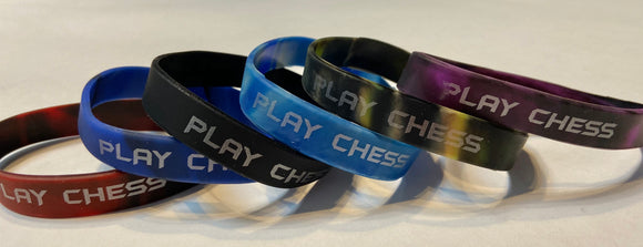 Play Chess Silicone Wristbands - 25 Pack - Assorted Colors Available - American Chess Equipment