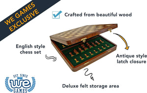 Deluxe English Style Chess Set in Wooden Case – Felt Storage for Handcarved Pieces & Wooden Board 17 in.