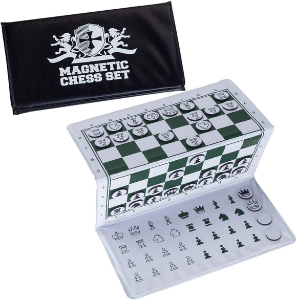 WE Games Mini White Logo Magnetic Pocket Chess Set - 6 x 3.25 in.