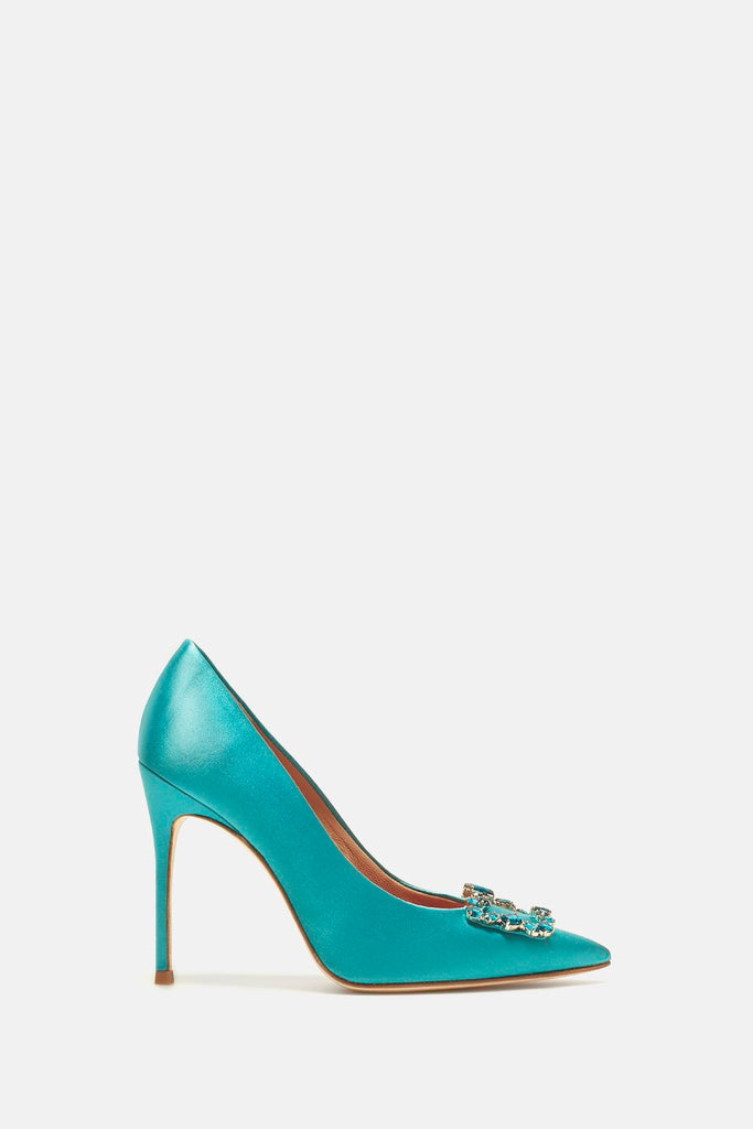 Blue Satin Pumps with Crystal Buckle