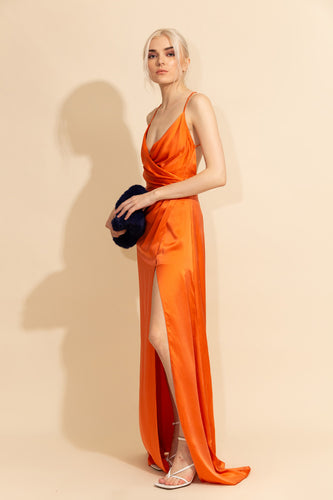Slit Silk Dress