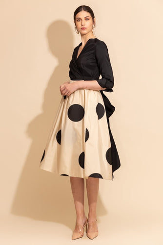 Belted Polka Taffeta Dress