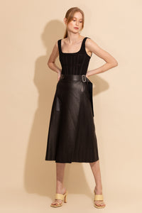 A Line Leather Skirt