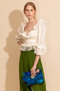 Basque Ruffle Top