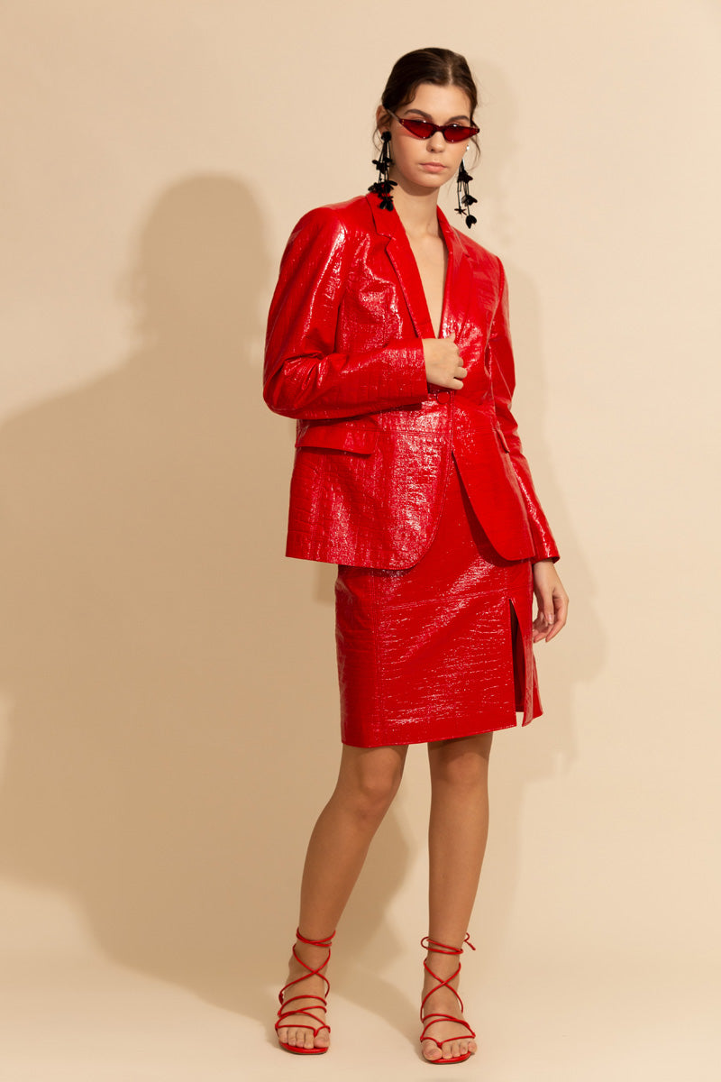 Red Patent Jacket and Skirt Set