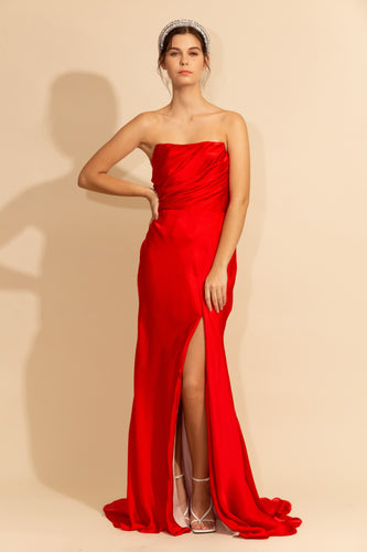 Strapless Satin Dress with Slit