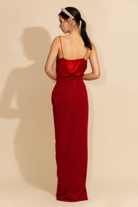 Long Slit Red Skirt
