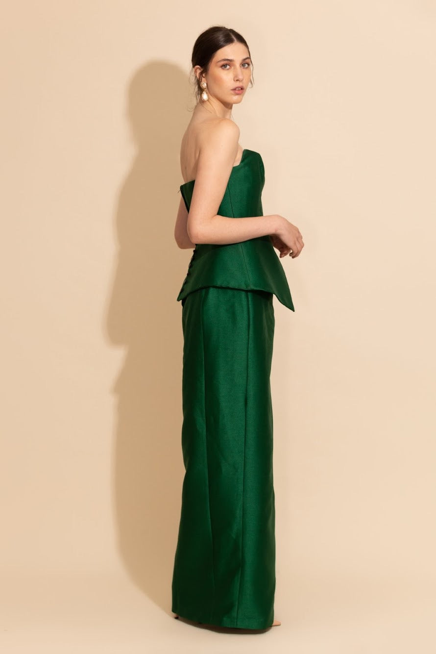 Strapless Shantung Gown