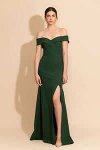 Crepe Off Shoulder Gown